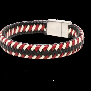 Βραχιόλι δέρμα άσπρο - μαύρο - κόκκινο_2859