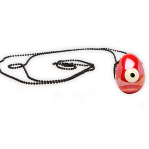 Κολιέ κόκκινο λευκό μάτι_3408
