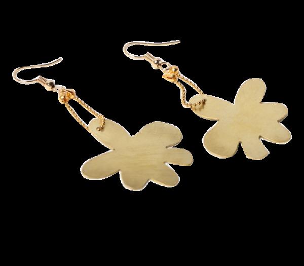Σκουλαρίκια λουλούδι ορείχαλκος_5839